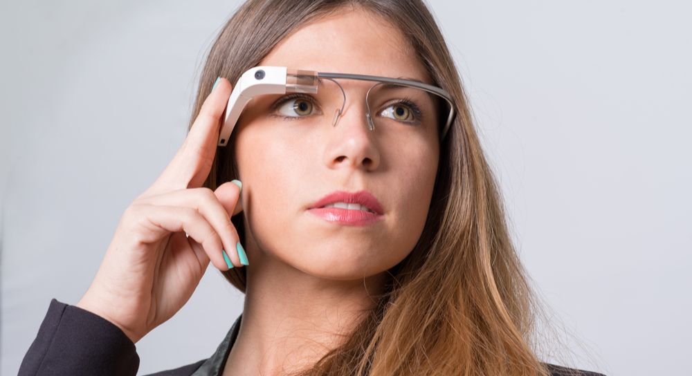 Woman wearing Google Glass