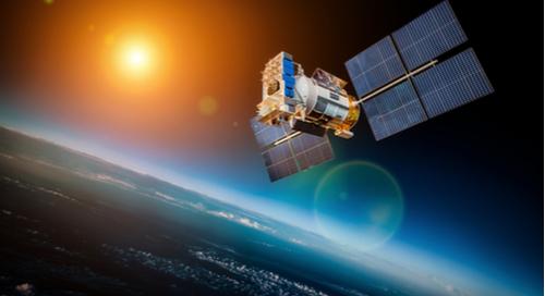 Satellit, der die Erde umkreist