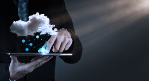 cloud above a tablet computer