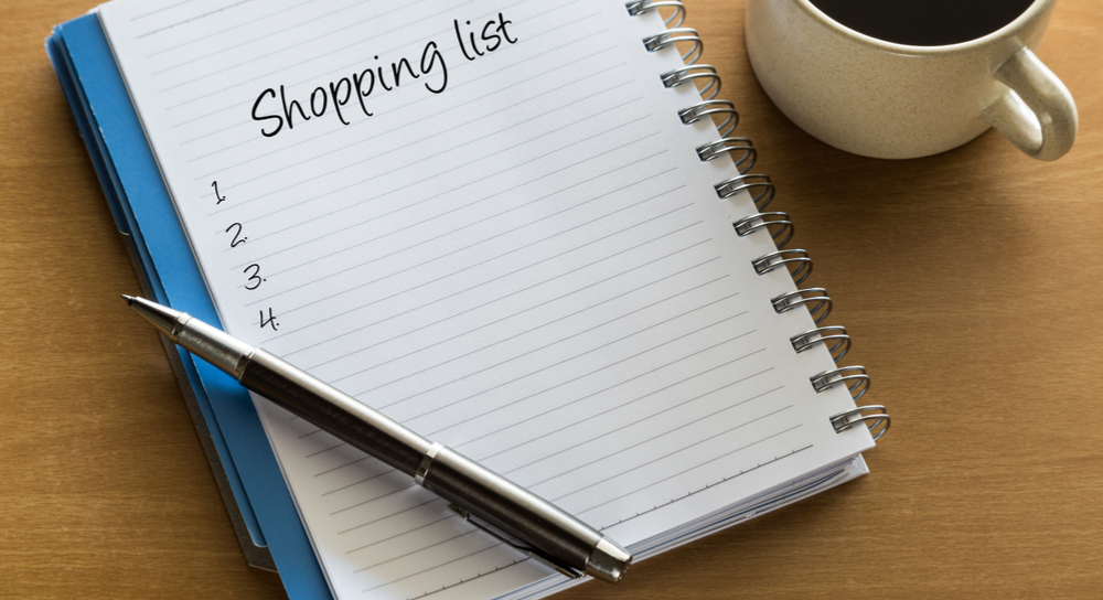 Picture of a shopping list
