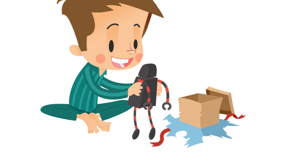 Cartoon of boy unwrapping present