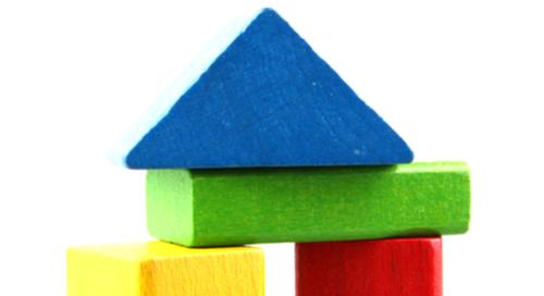 Wooden colored children's building blocks