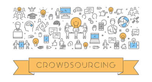"banner saying ""Crowdsourcing"""