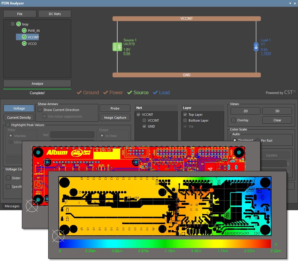 Picture of PDN Analyzer tool from Altium Designer