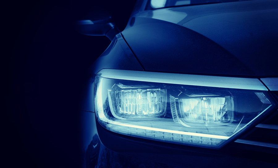 Front headlight of modern muscle car