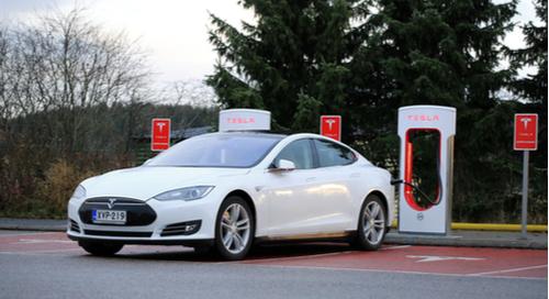 Tesla car being charged