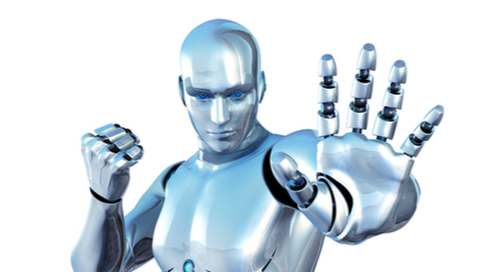 Robot gesturing to stop