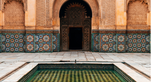 Moroccan style courtyard.
