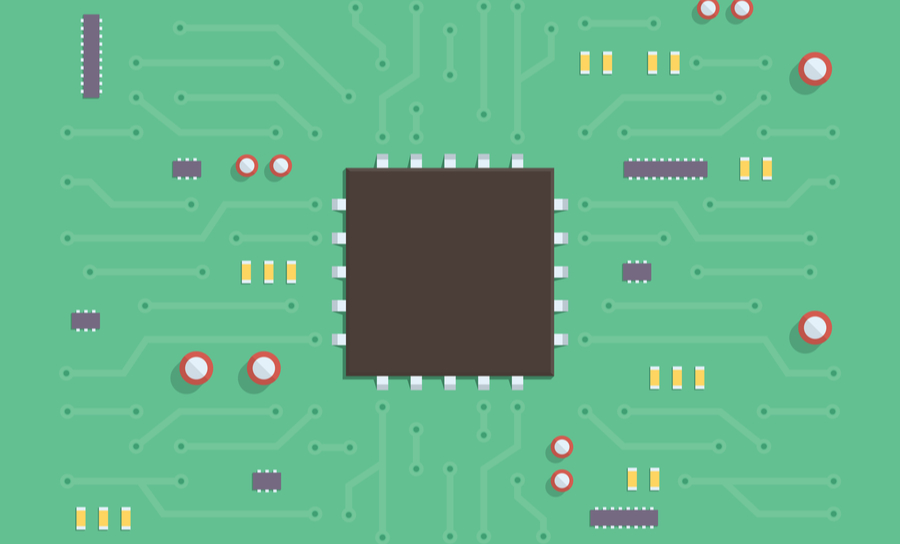 Flat graphic of small circuit board