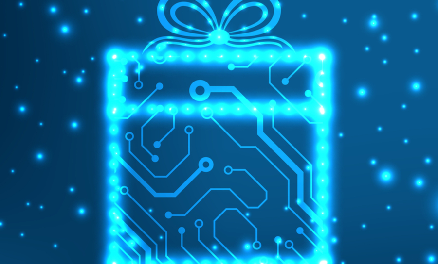 Blue routing lights in the shape of a gift-wrapped present