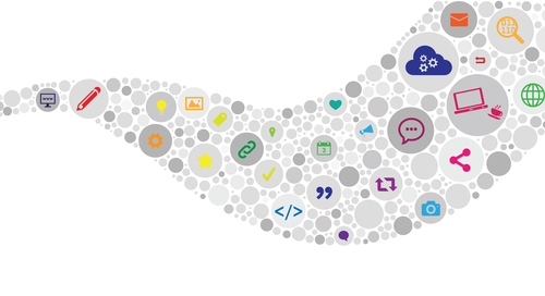 Ilustración de los iconos de medios de Internet y conceptos y diseños de blogs, y presencia digital en el flujo de ondas curvas
