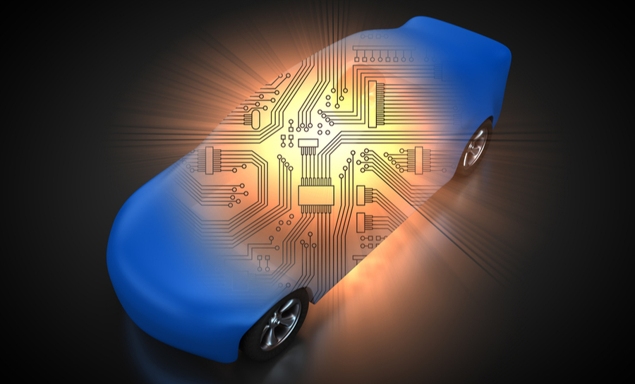 3D rendering: vehicle with open carbody with view at the circuitry