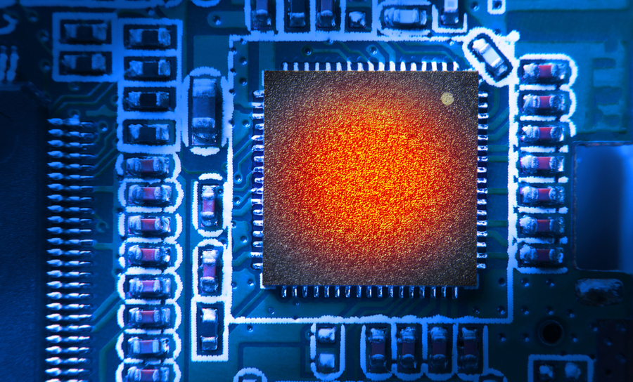 PCB microcontroller under thermal heat