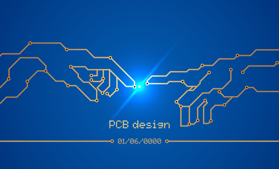 """PCB conductors and contact pads in the form of """"Birth of Adam,"""" artwork"""