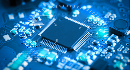 A blue semiconductor on a circuitboard