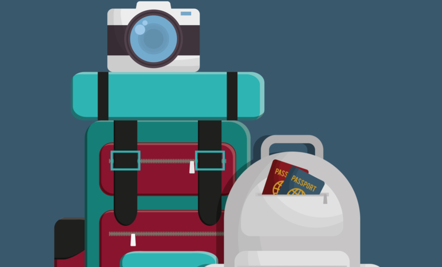 Picture of a suitcase with a camera and a backpack