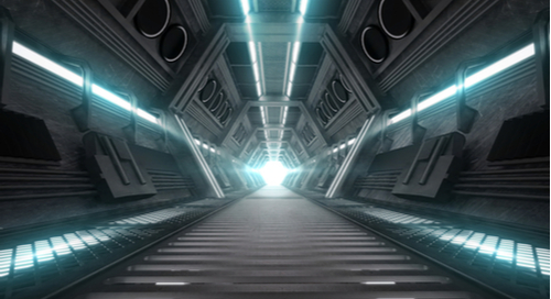 Futuristic tunnel entrance