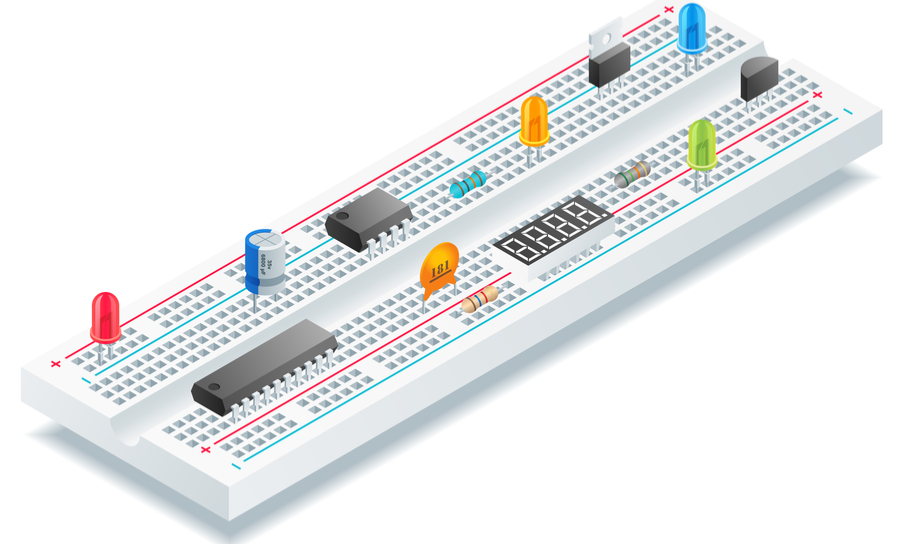Isometric breadboard with electronic components