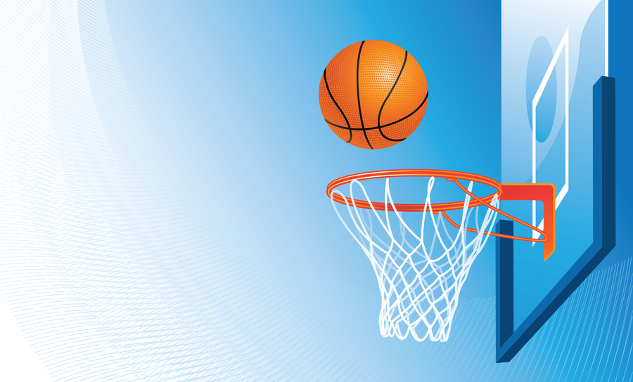 Basketball and hoop on sky background