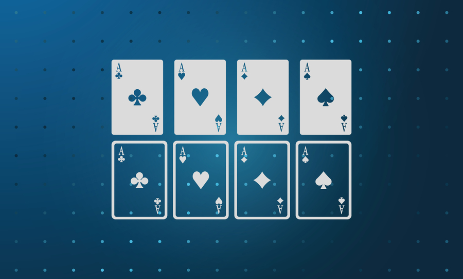 Aces of spades, clubs, diamonds and hearts icon.