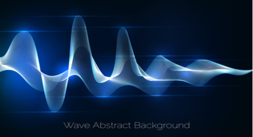 Abstract sound waves representing frequency and amplification