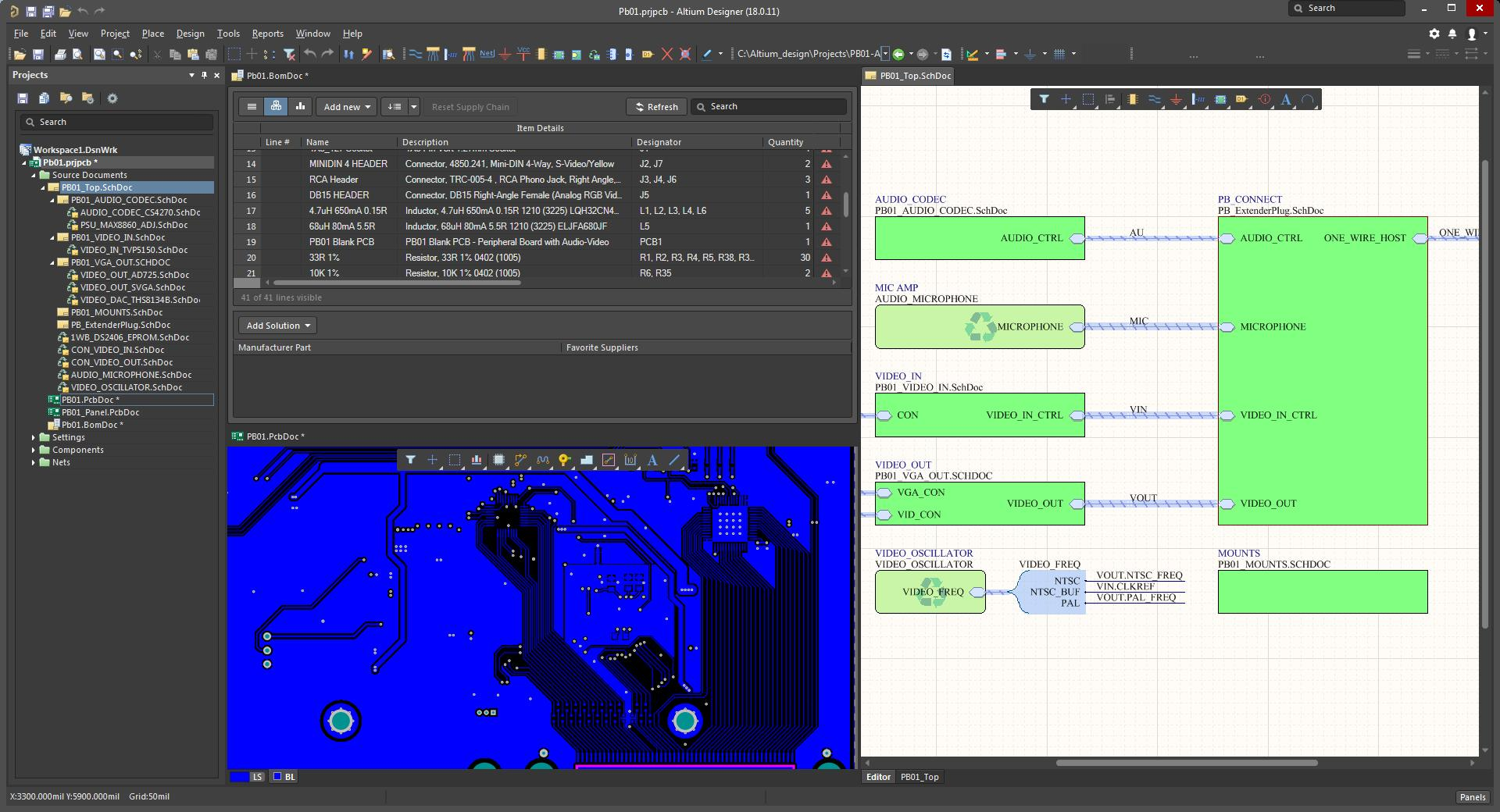 Screen shot of Altium Designer 18 with multiple tool windows open