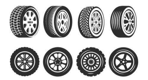 Graphic of different car wheels and treads