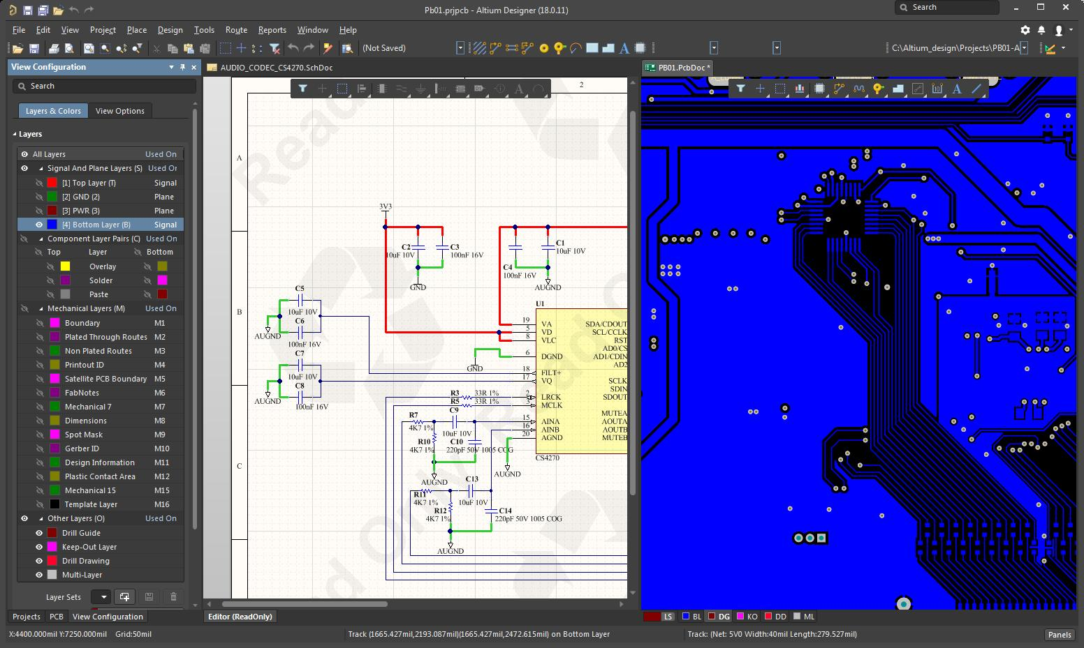 Picture of Altium Designer 18 schematic and layout)
