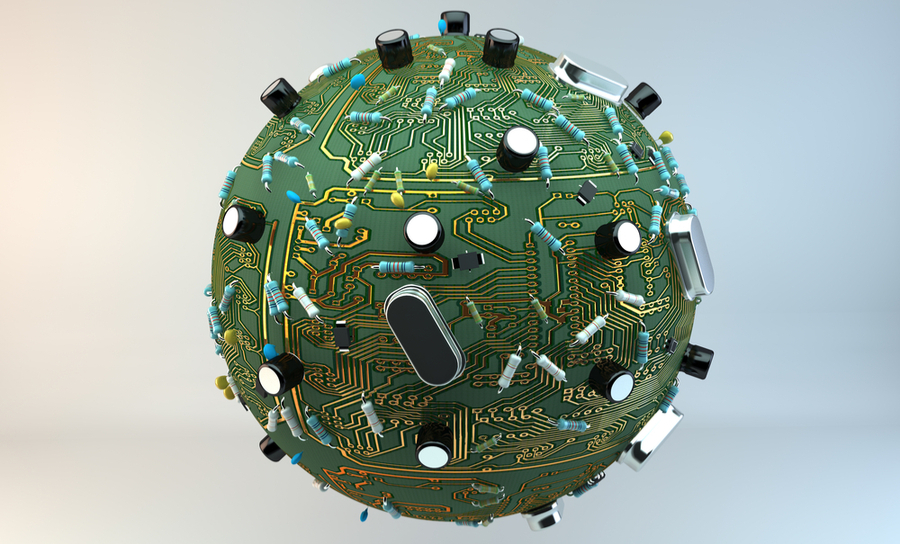 Computer planet with circuit grid