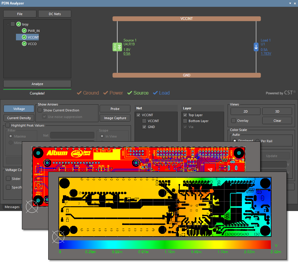 Picture of menus from Altium 's  Analysis tool