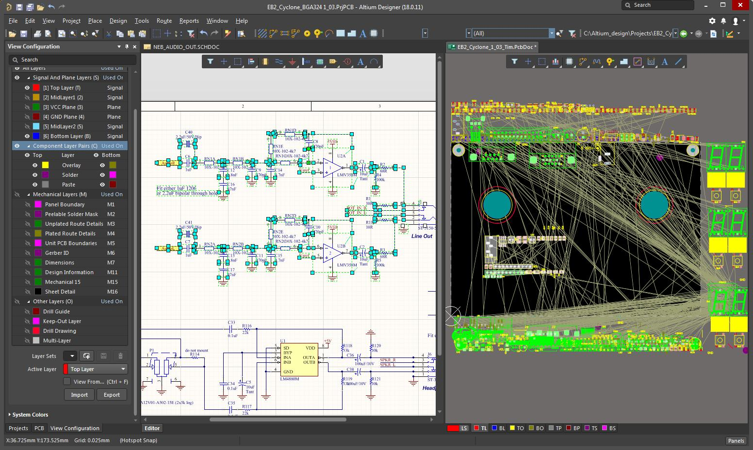 Screen capture of AD with selected components from the schematic placed in layout