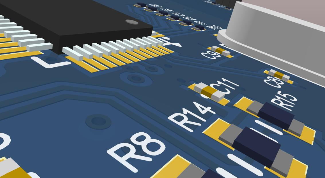 Picture of 3D component placement from Altium Designer