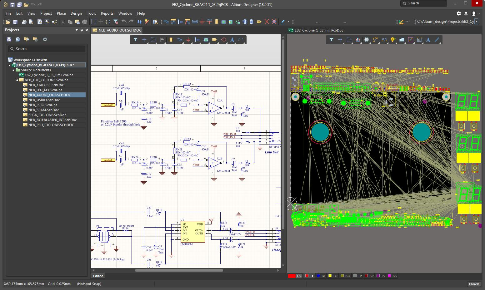 Altium session with schematic and layout on it