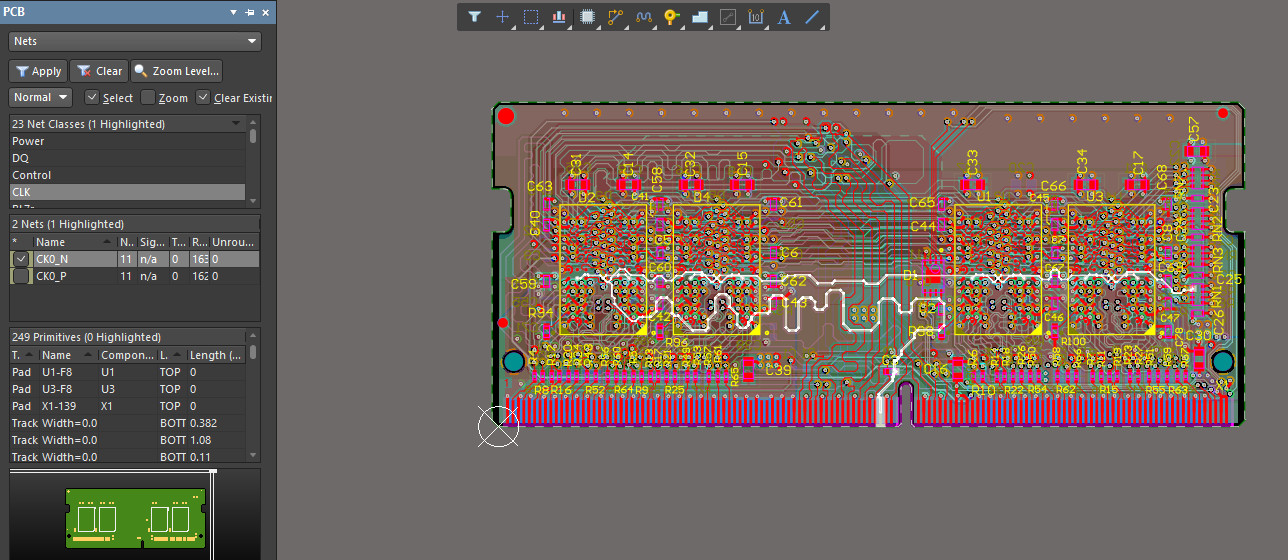 PCB example with highlighted nets
