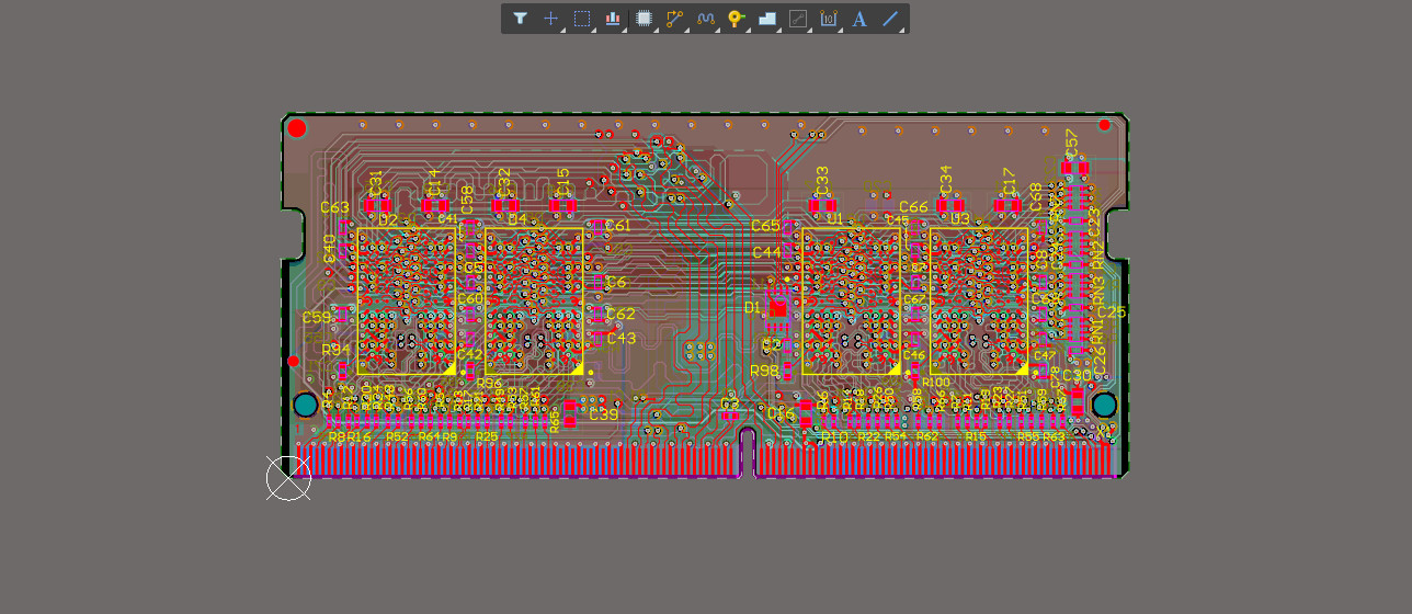 PCB example with all layers visible and without highlighted nets