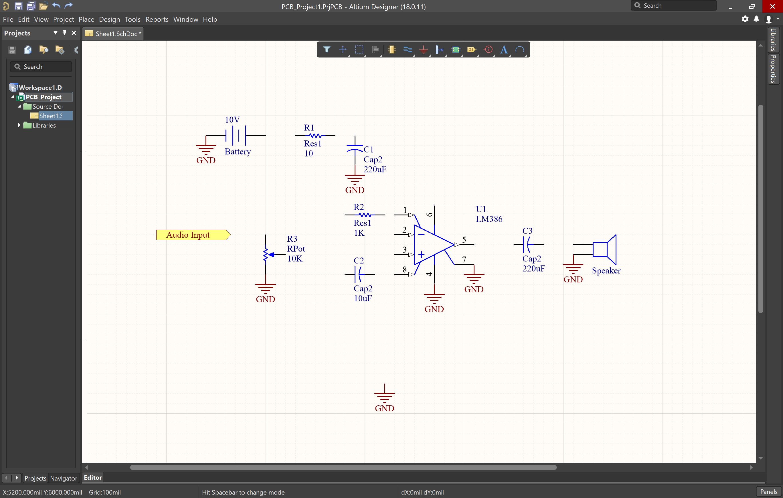 コンポーネントにGNDが追加された回路図の画像