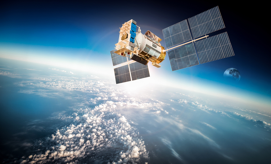 GPS satellite orbiting Earth