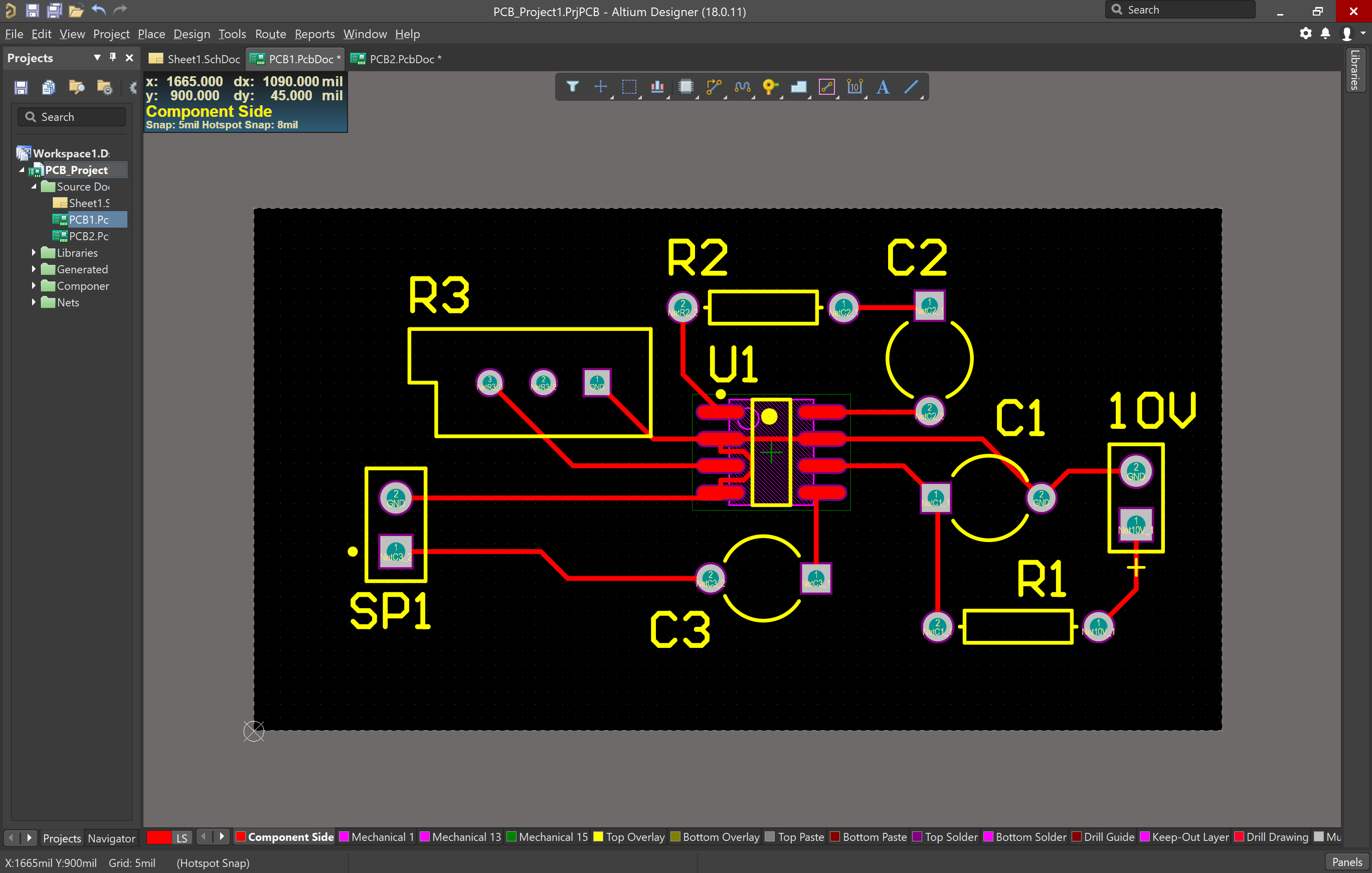 Routed PCB in Altium Designer