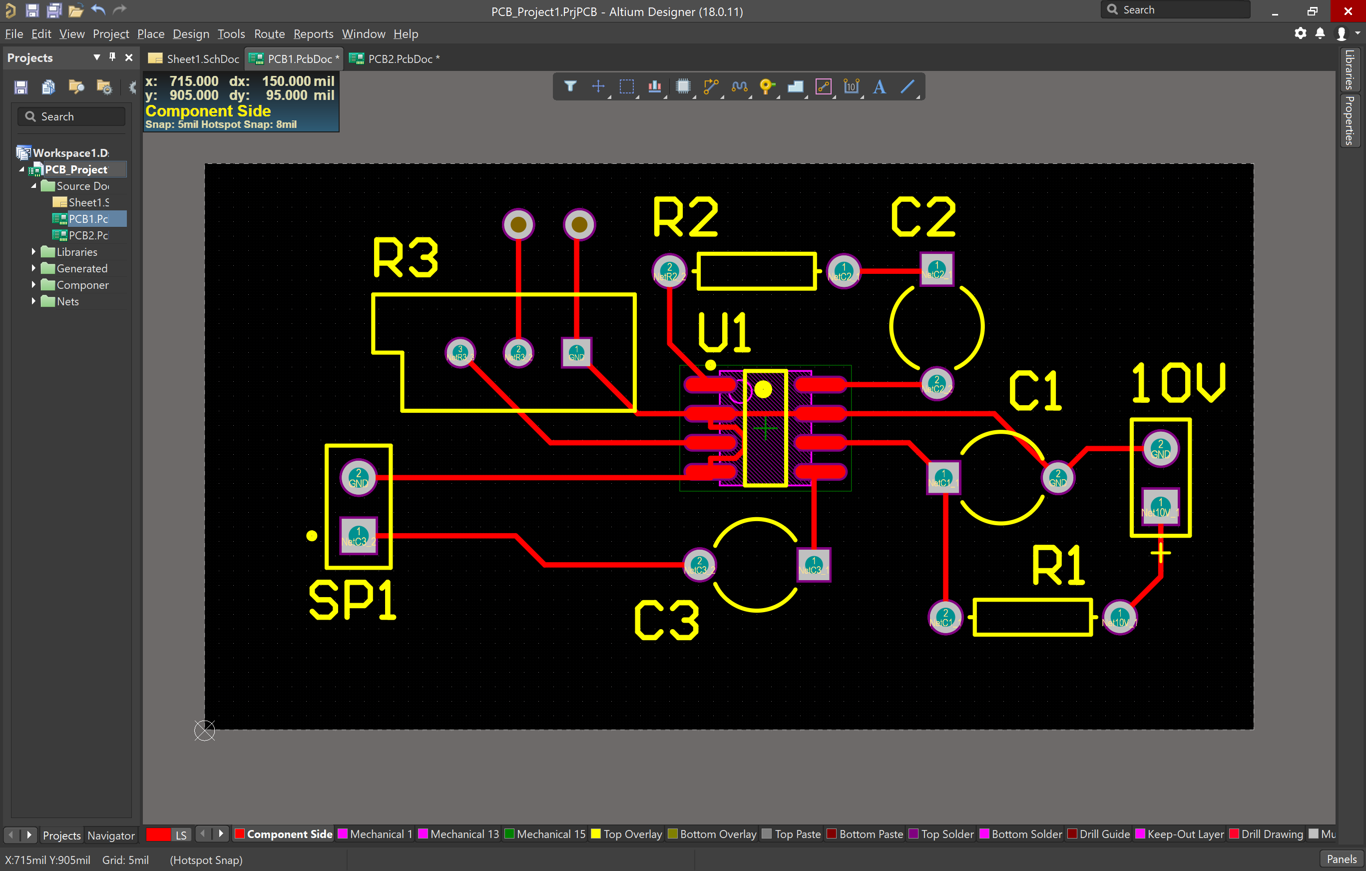 Fully routed and with vias added PCB in Altium Designer