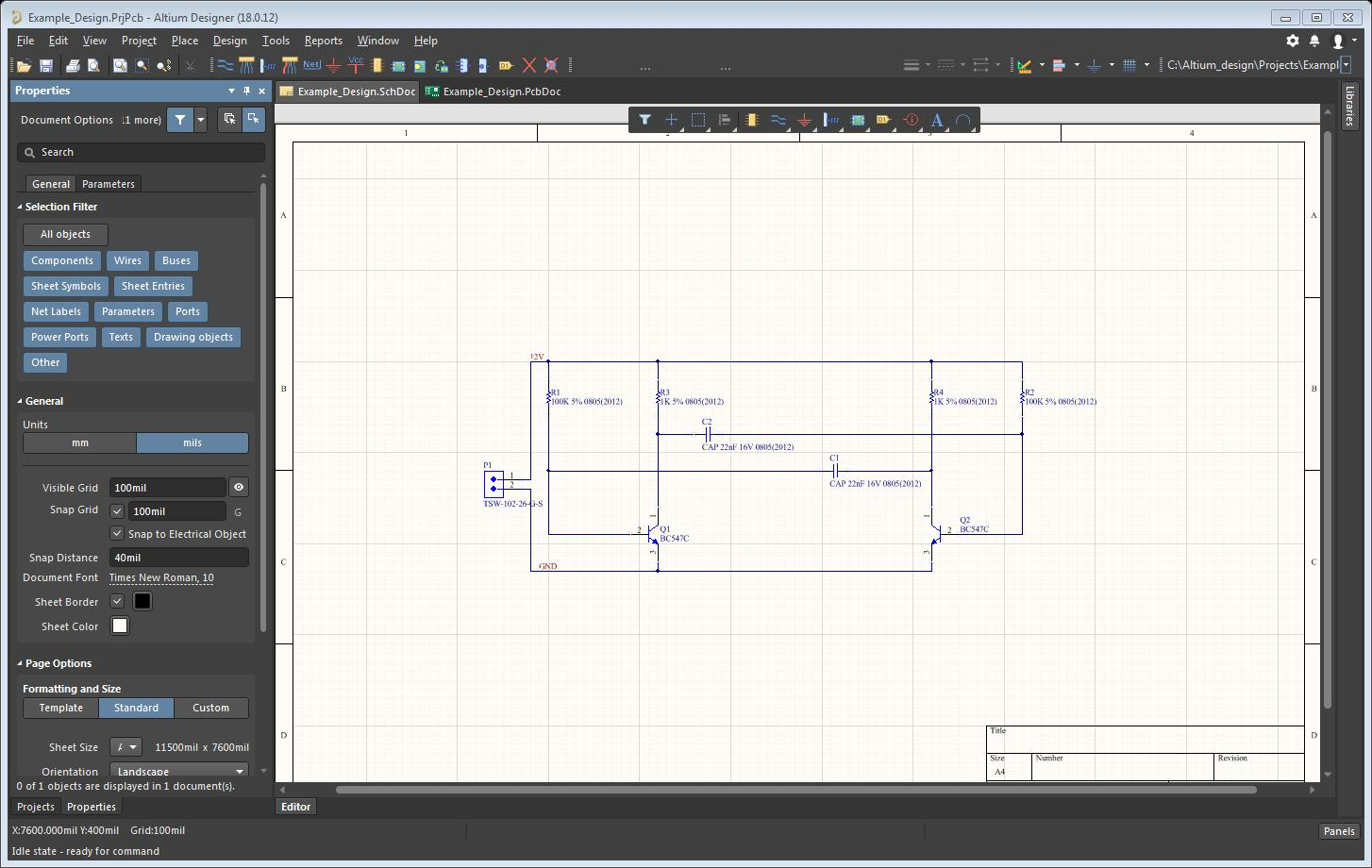 Picture of AD session showing the properties menu docked in a schematic panel