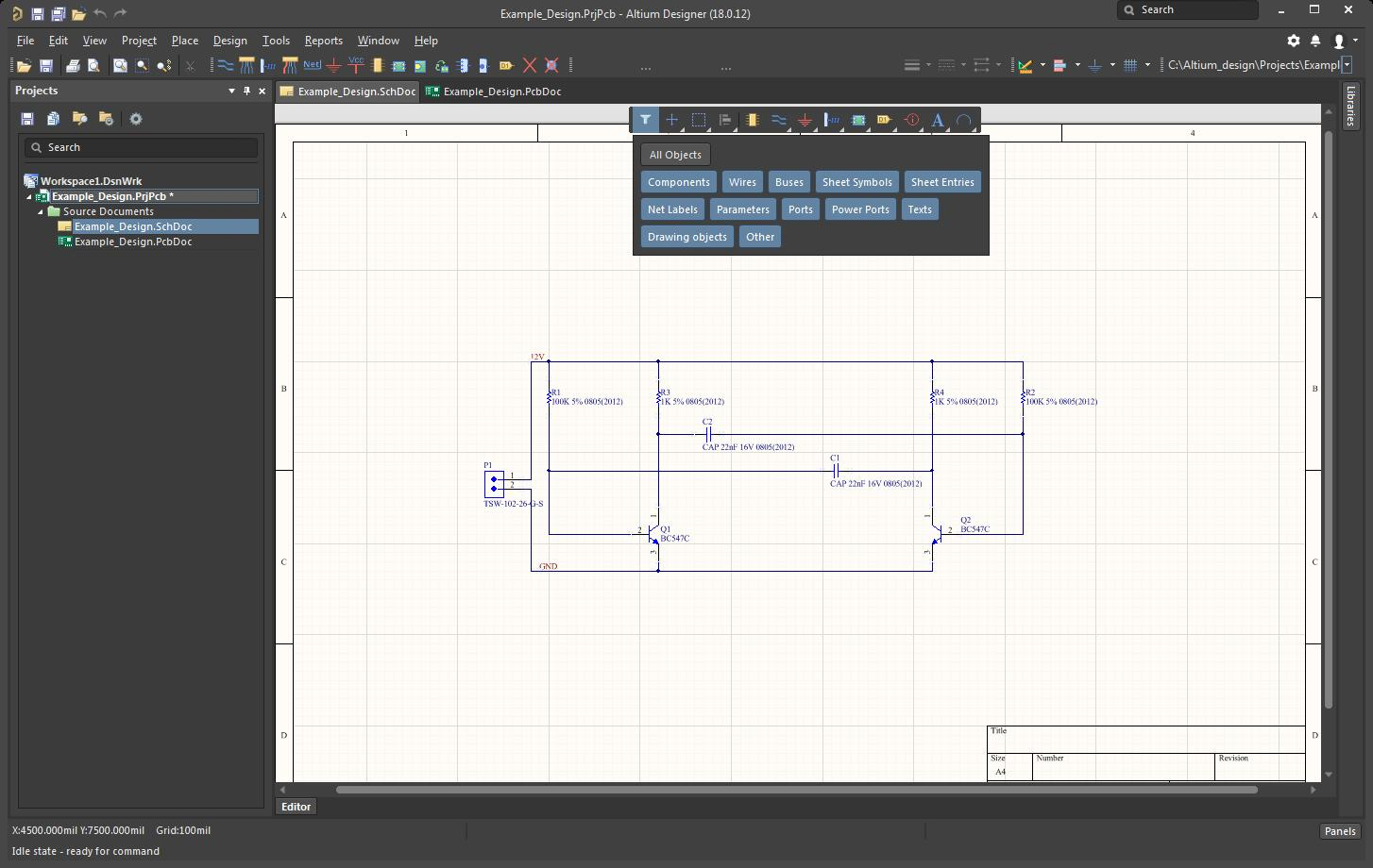 Picture of AD session showing the select filter menu in the schematic
