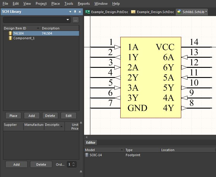 Screenshot of finishing the symbol in the schematic library in AD18