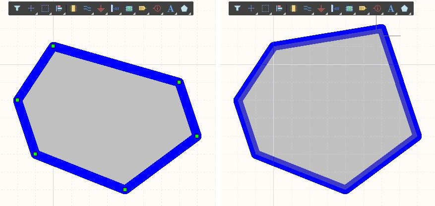 Screenshot of schematic shape dragging edits