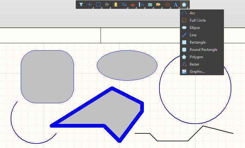 Screenshot of schematic shapes in AD 18