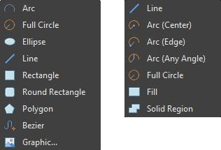 Screenshot of shapes menus in AD18 Schematic and Layout editors