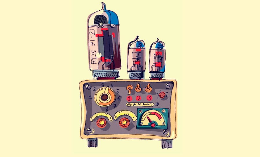 Cartoon-like drawing of electronic parts