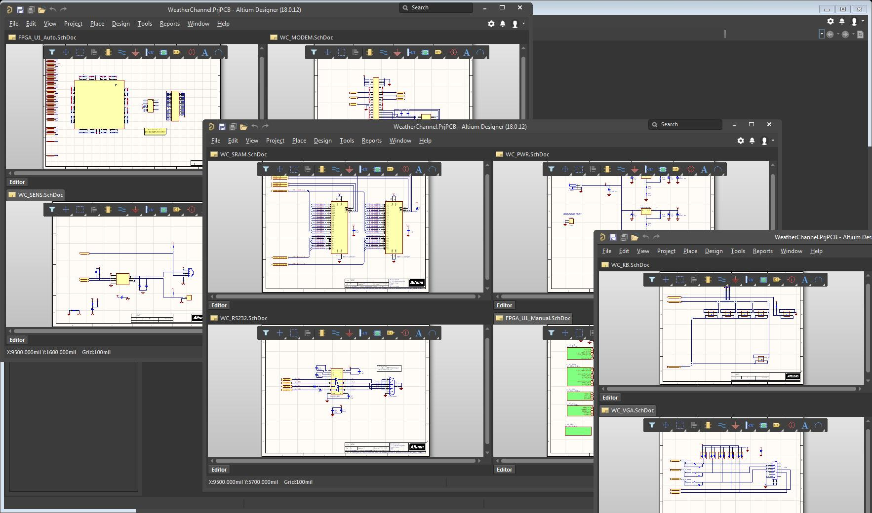 Screenshot of multiple schematic windows open in AD18 for supply chain management