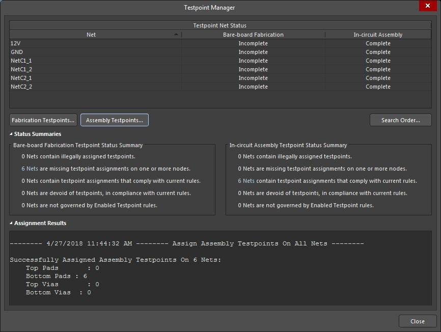 Screenshot of AD18 testpoint manager menu with assignment successes