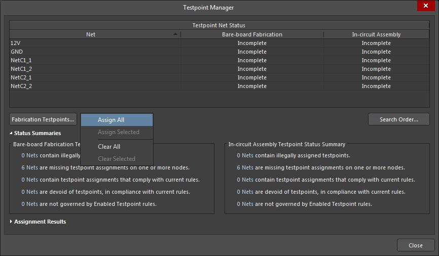 Le menu « Testpoint Manager » (Gestionnaire de points de test)