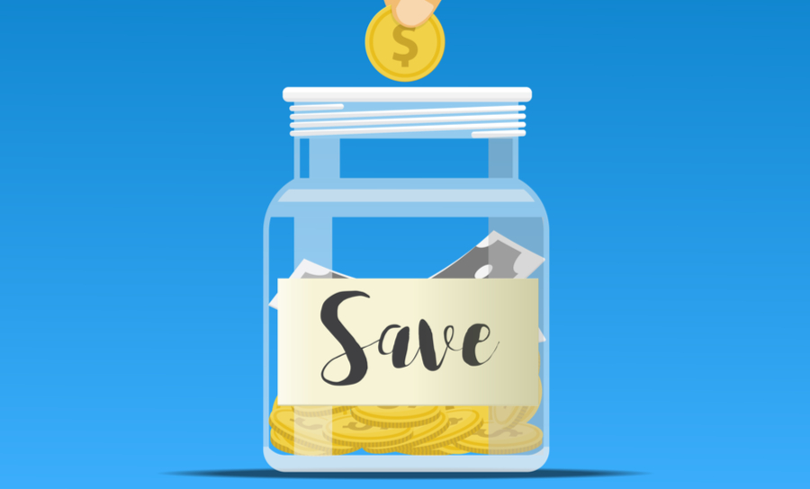 Vector of coin going into savings jar